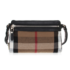 Burberry Small Canvas Check And Leather Clutch Bag - Black